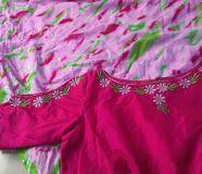 elegant shibori print raw silk readymade anarkali...
