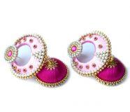 Silk Thread Jhumka-Drop Earring Light & Deep Pink...