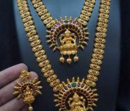 ravishing gold matte jewellery set with neckpiece...