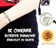Ik Onkaar Border Diamond Bracelet in Silver