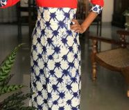 elegant pure cotton printed long length kurtis