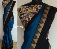 elegant Soft Cotton Sarees With Kalamkari cotton Blouse