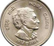 5 RS COIN WITH INDIRA GANDHI & 25 PAISE COIN WITH...