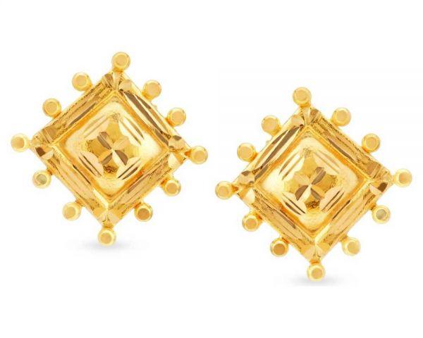 a1b3aaf38 ₹12613 Tanishq Gold Earrings - Yellow Gold Rhombus Studs by Tanishq