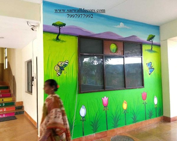 Jungle Themed Nursery Wall Painting In Hyderabad