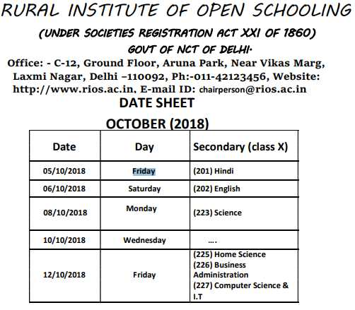 10th Class Open Board Exam Time Table- Rural Institute Of