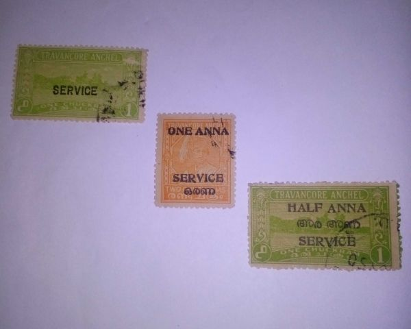 Travancore Anchel Old Princely State Stamps For Sale