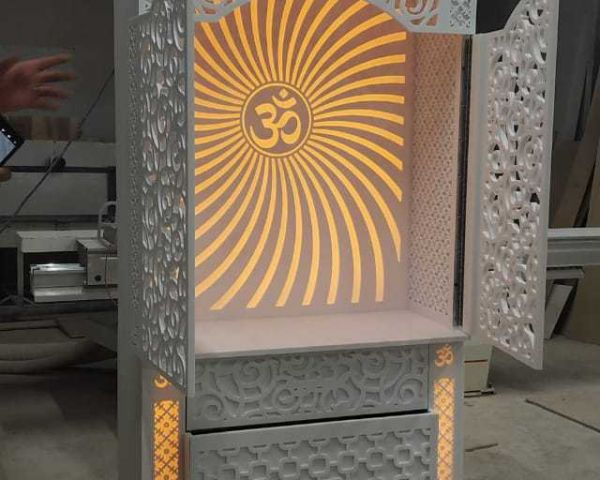 Designer Corian Solid Surface Temple With Shutters And Jali