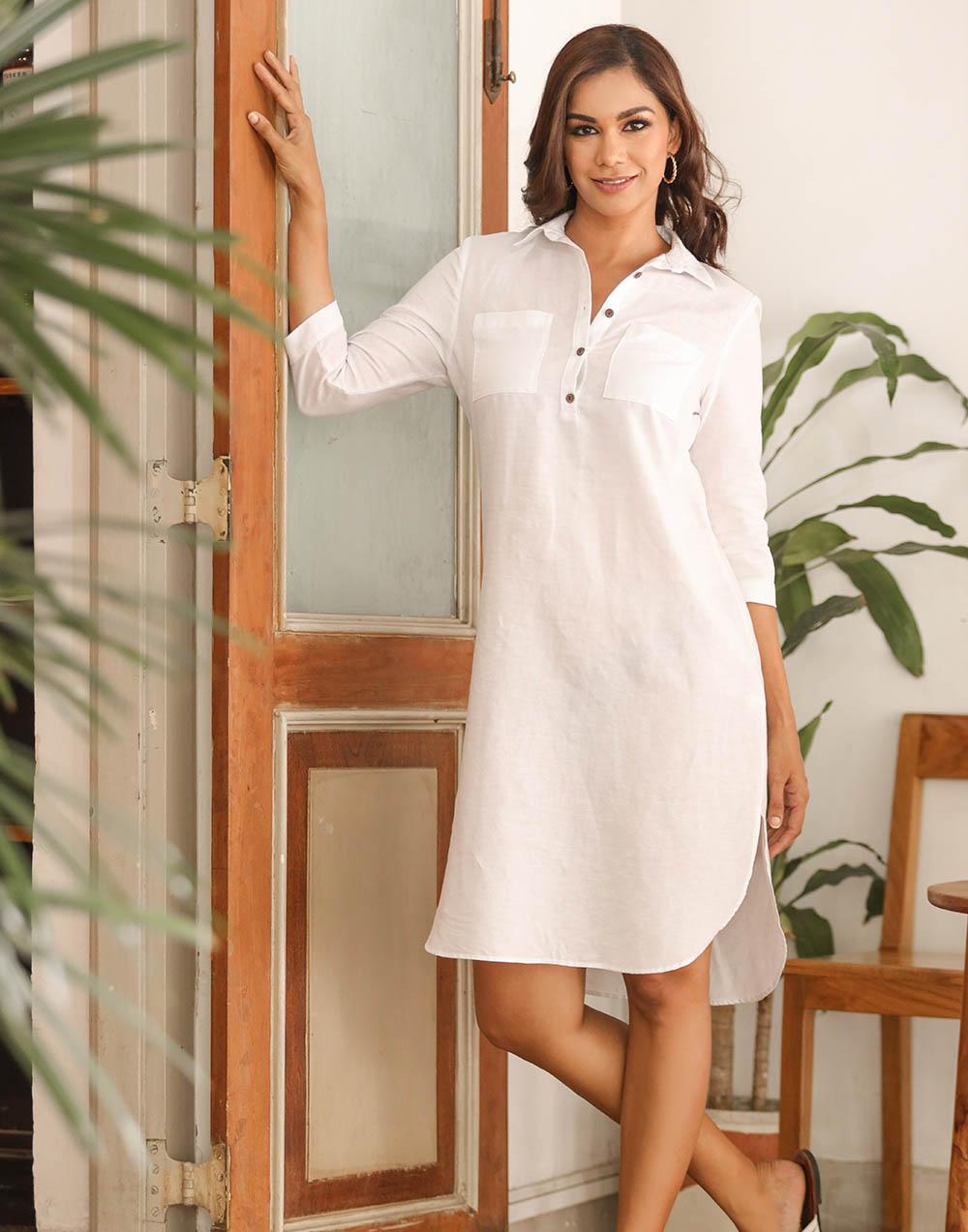 Loose Fit Shirt Linen Dress