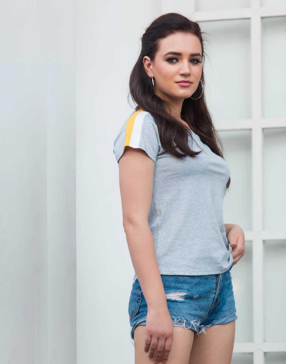 Shoulder Strip T Shirt _