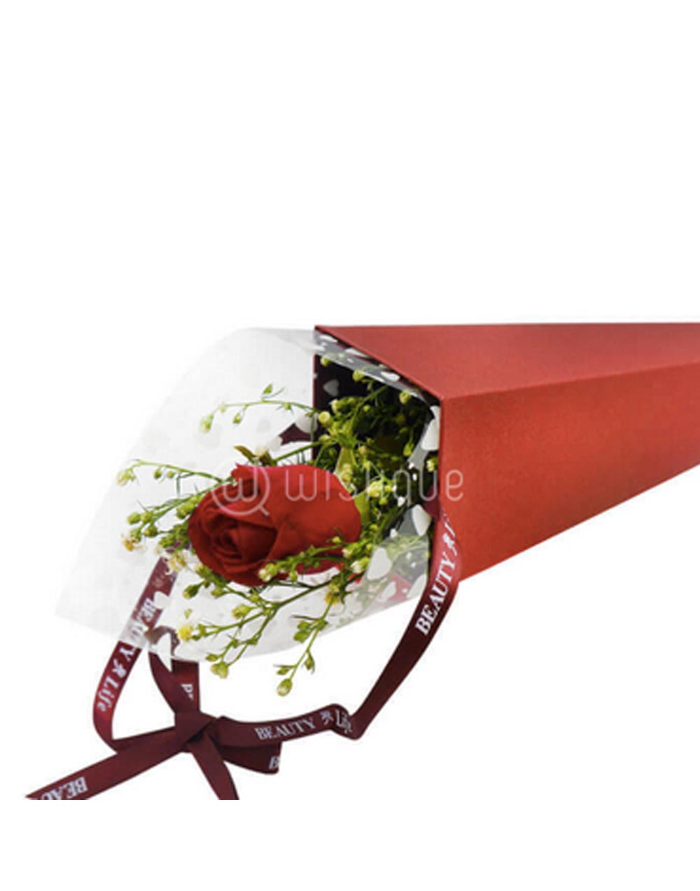 Single Fresh Red Rose in a Holder