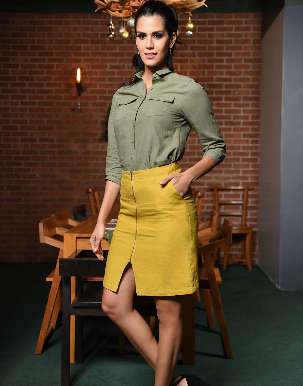 Mid Waist Knee Linen Pencil Skirt