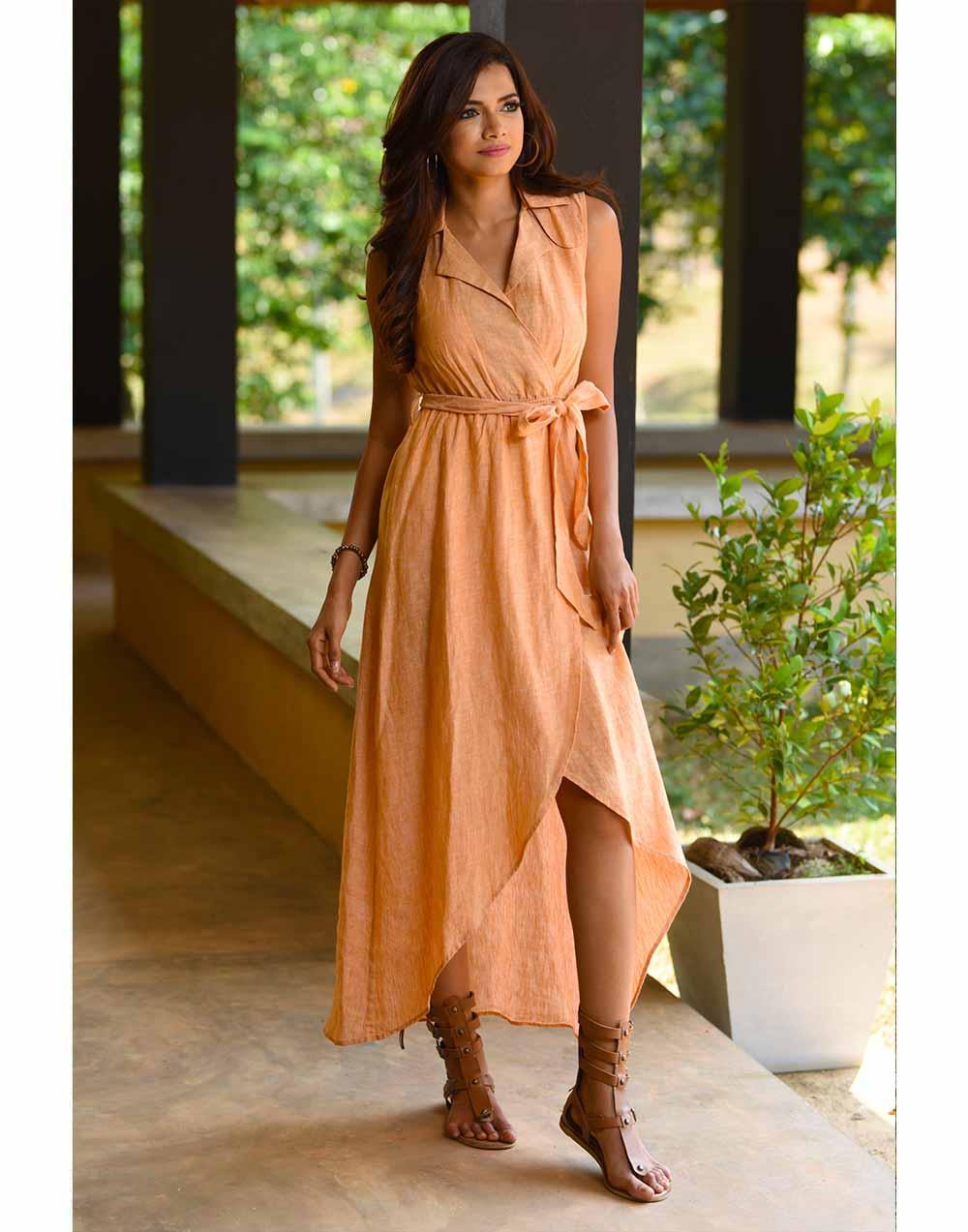 Lapel Collar Linen Dress !