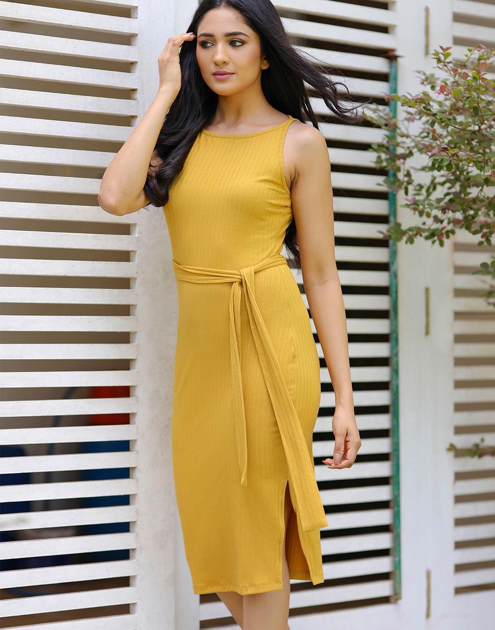 Sleeveless Midi Ribbed Dress