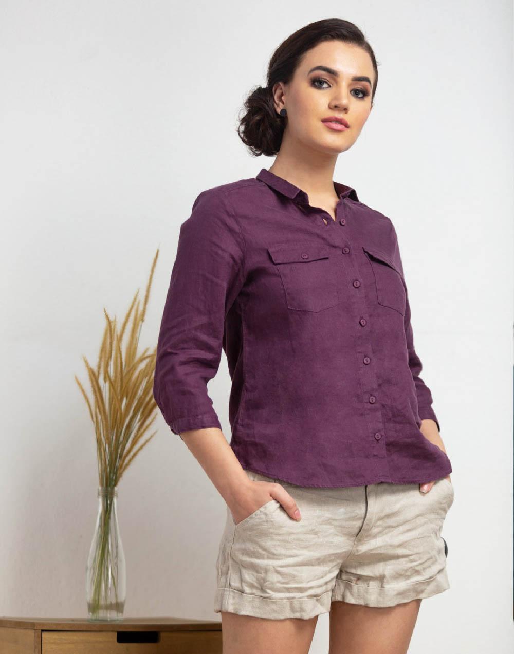 Linen basic shirt ._