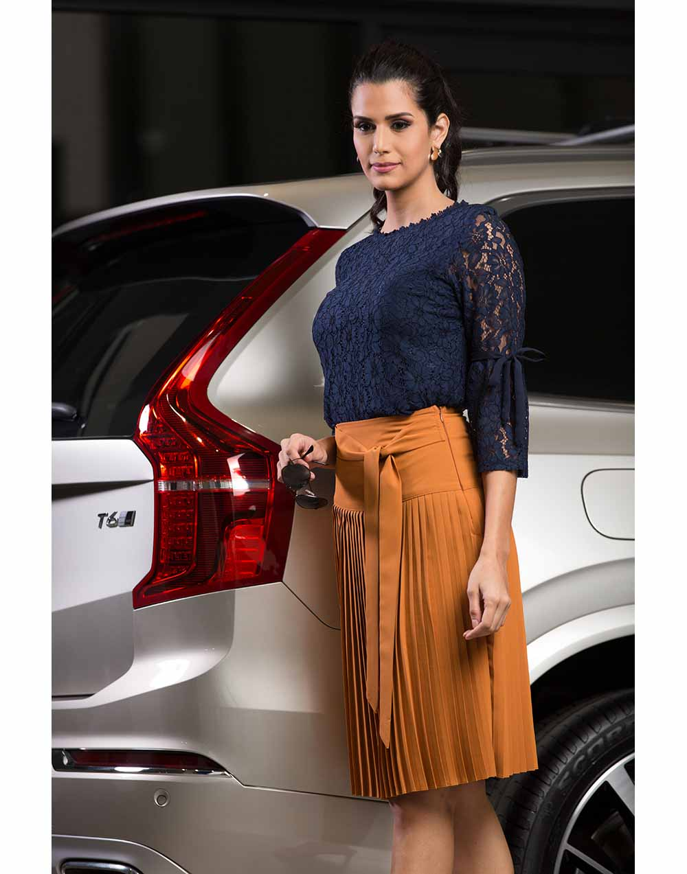 Pleated Skirt With Front Tye