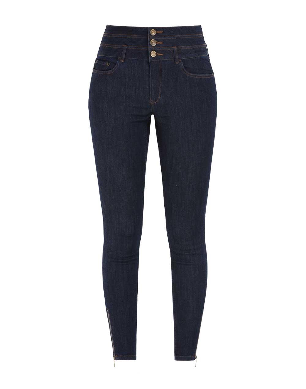 Three Button High Waist Jean