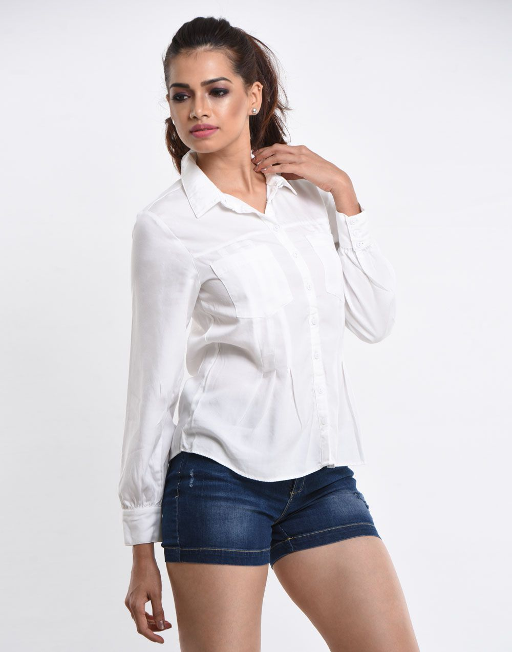 Beauty In White Shirt