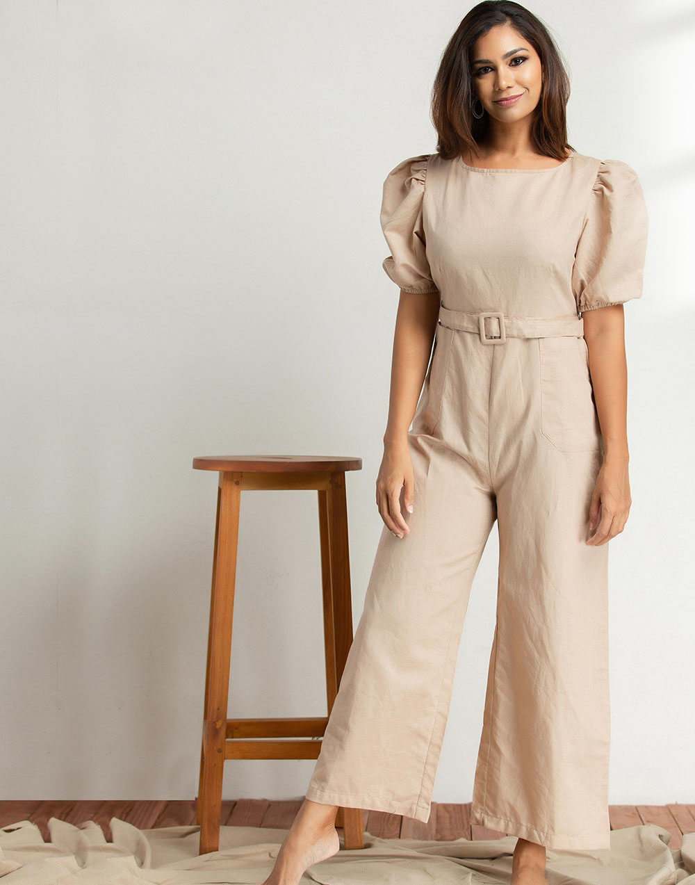 Puff Short Sleeve Jumpsuit With Pockets