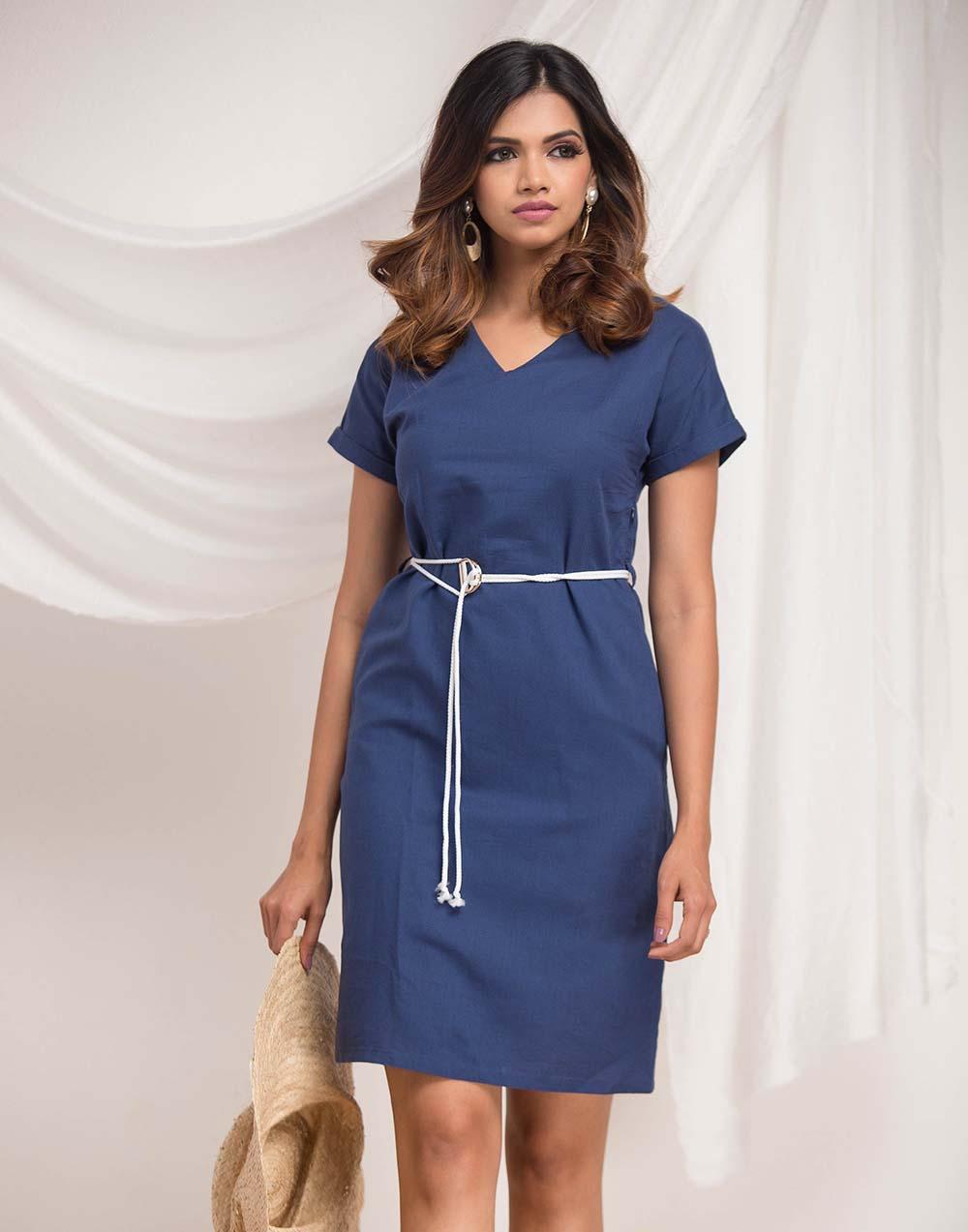 Vneck Shift Linen Dress