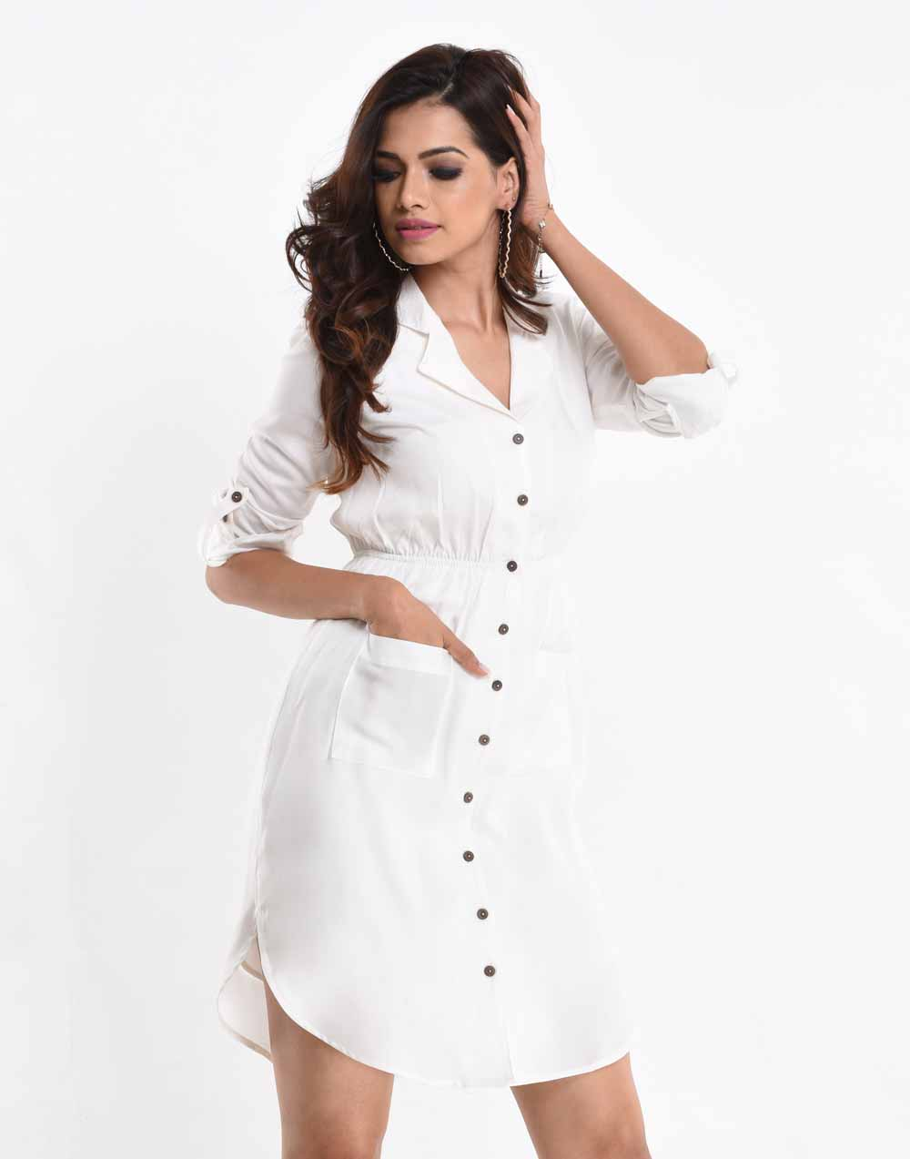 Lapel Collar White Shirt Dress