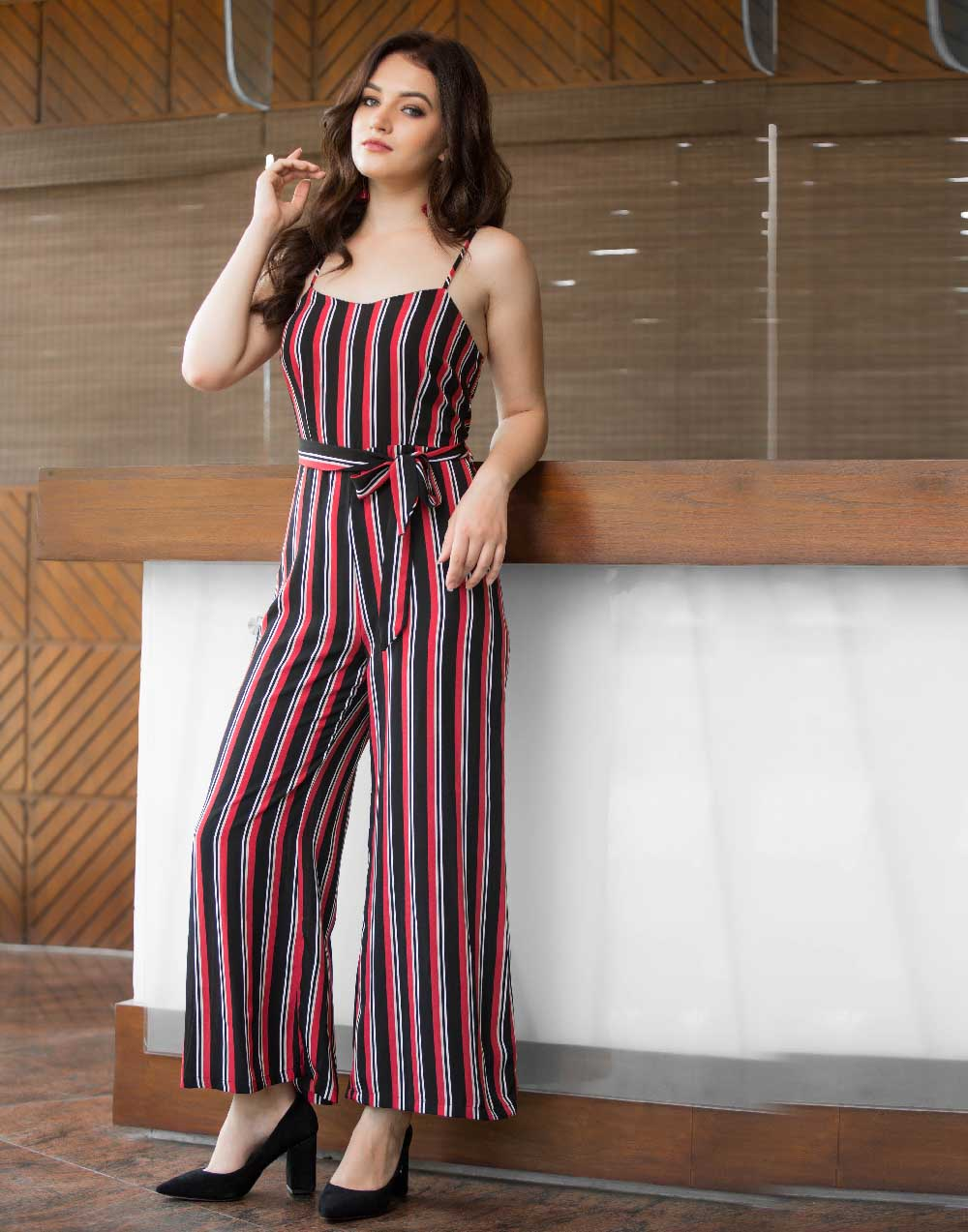 Stripe strappy Jump Suit