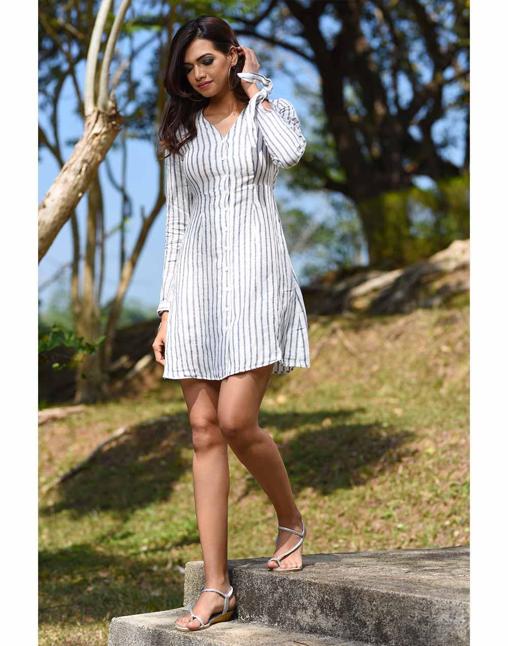 Stripe's Way Linen Dress