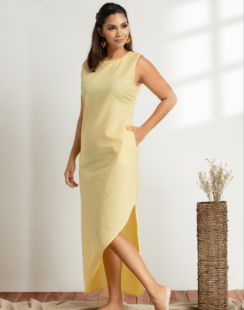Asymmetrical Linen Maxi Dress