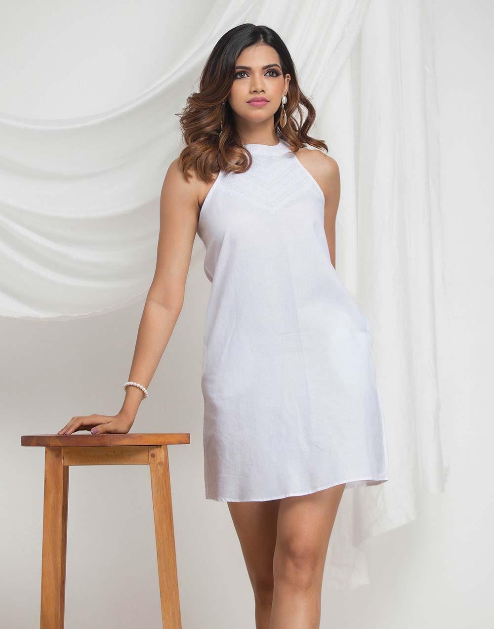 Embroided Shift Linen Dress