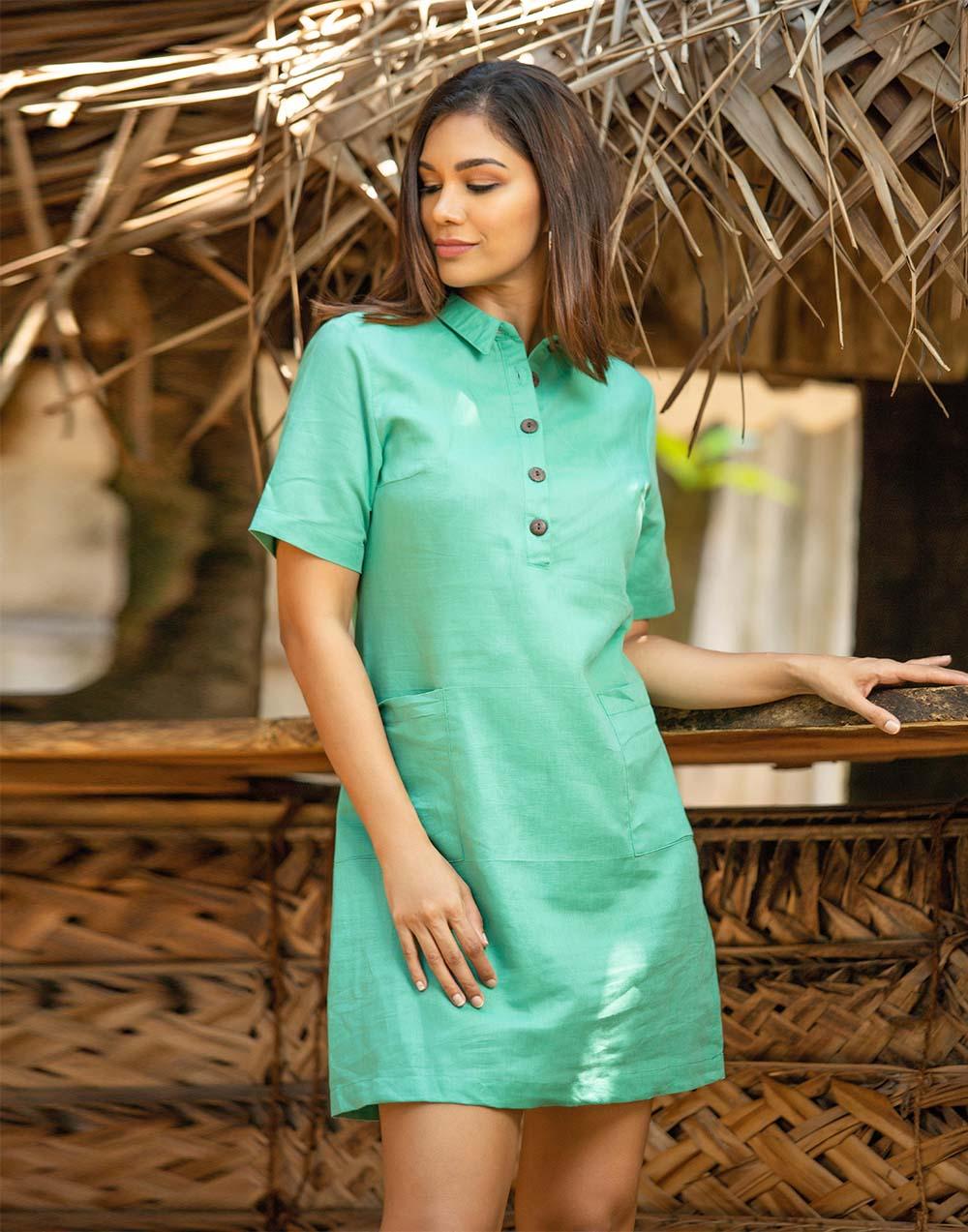 Buttoned Up Linen Shift Dress