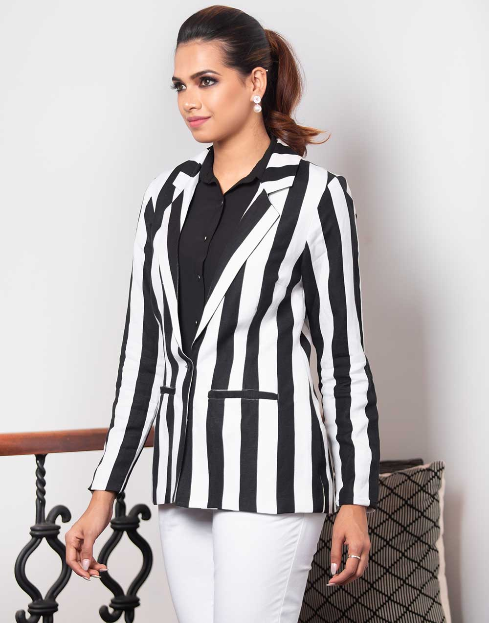 Stripe Block Blazer