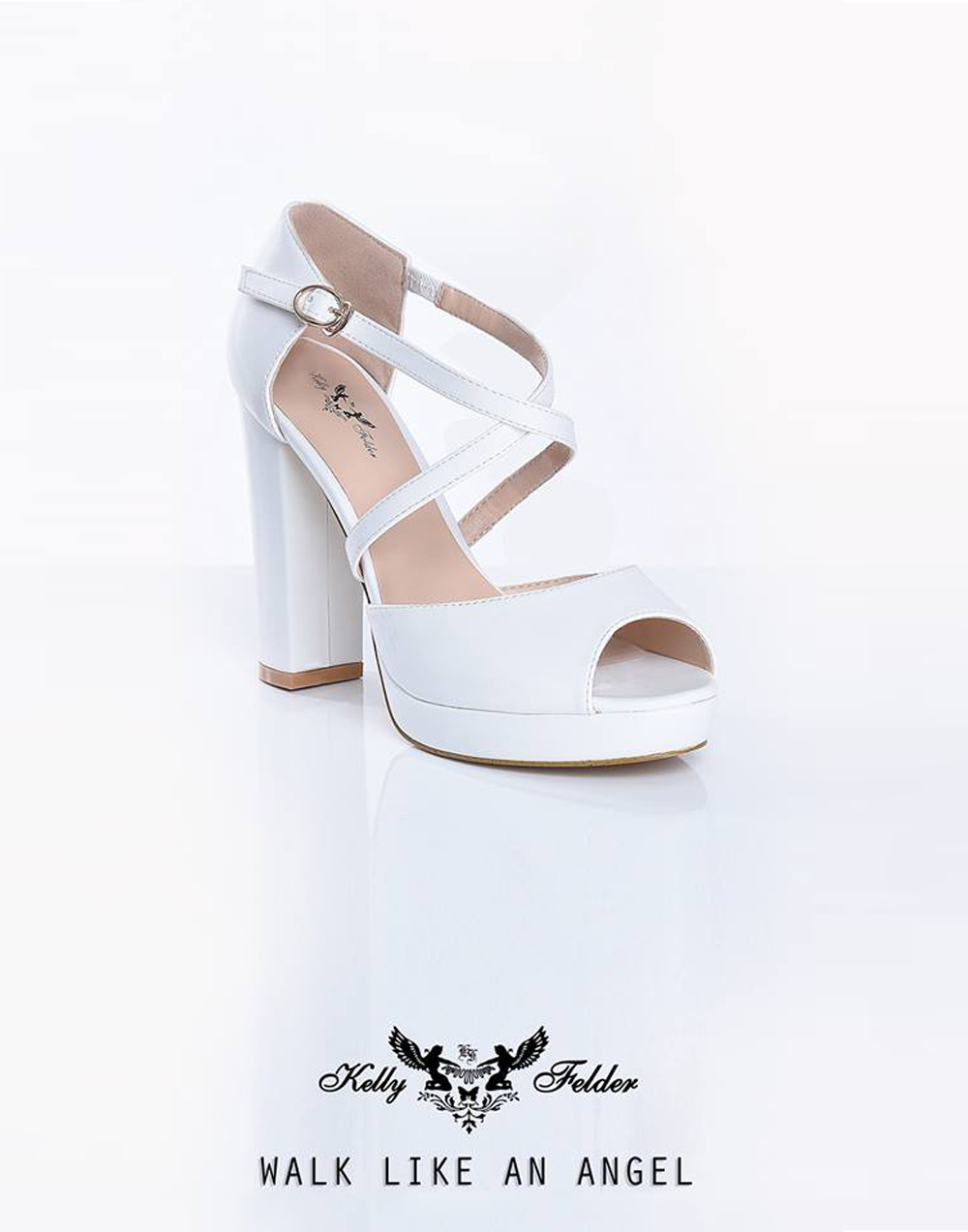""" Ariel "" Peep-toe platform Heels With Cross Straps"