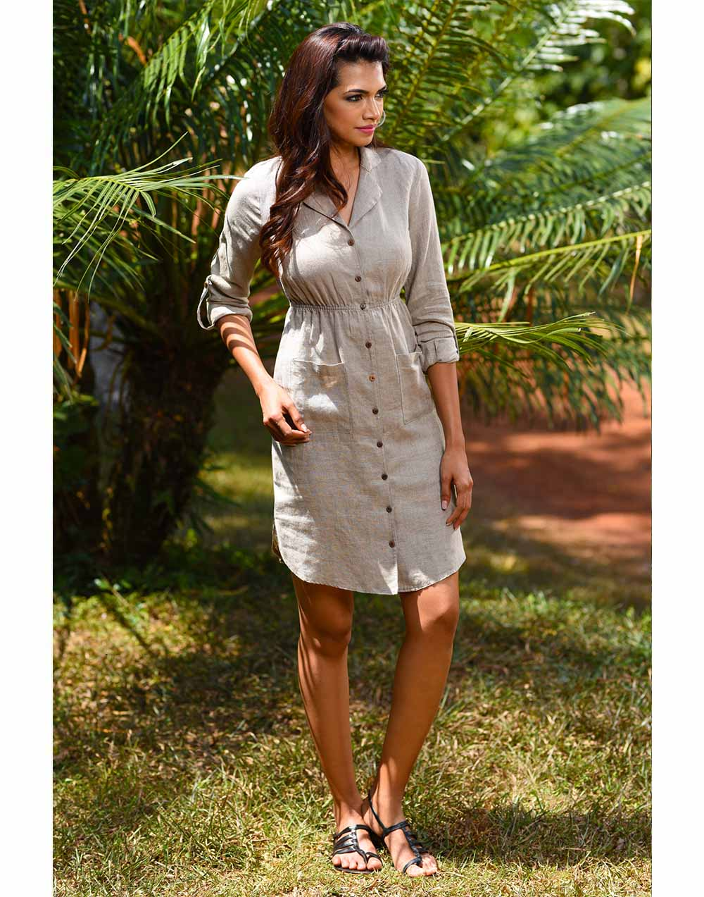 Lapel Collar Linen Dress