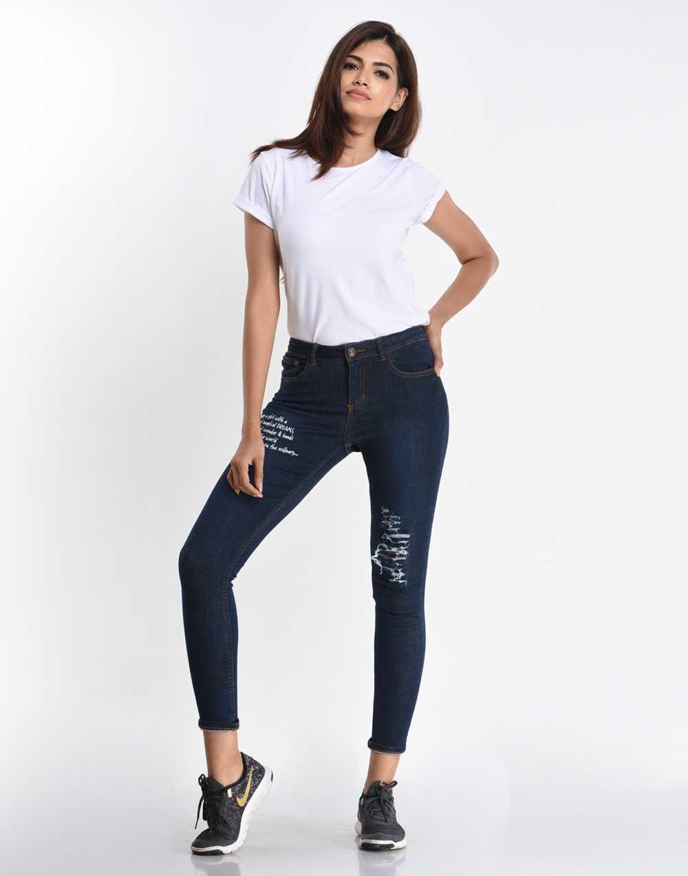 Mid Waist Cropped Jean