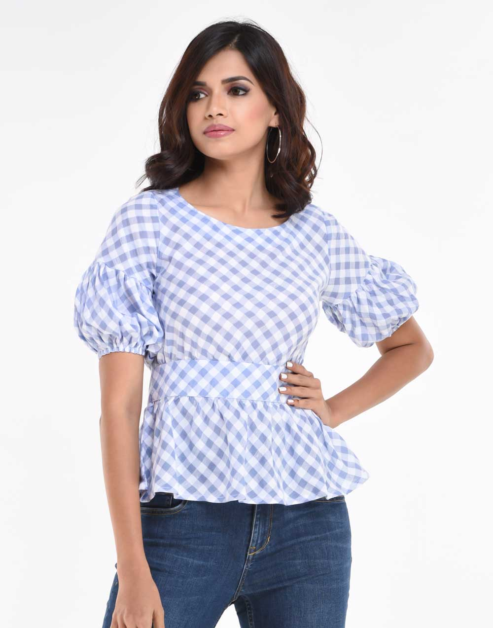 Checked Peplum Top