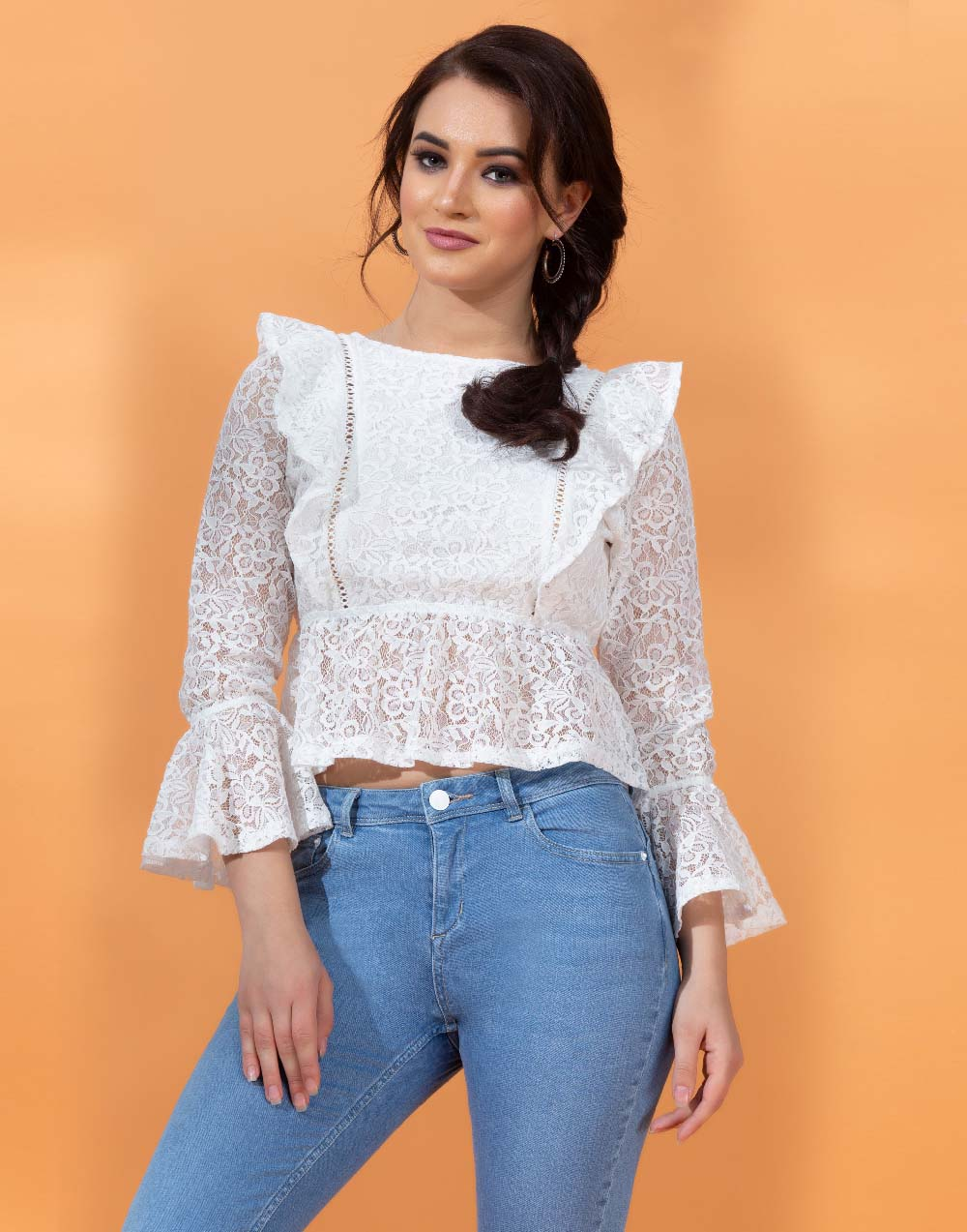 Lace Crop Top With Long Sleeve