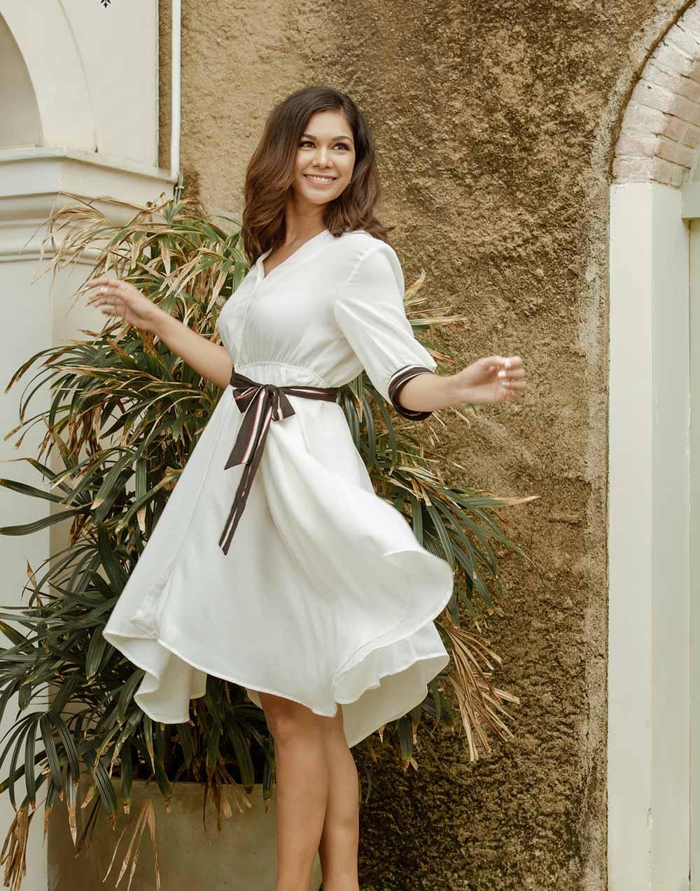 Colour Block Linen Dress_