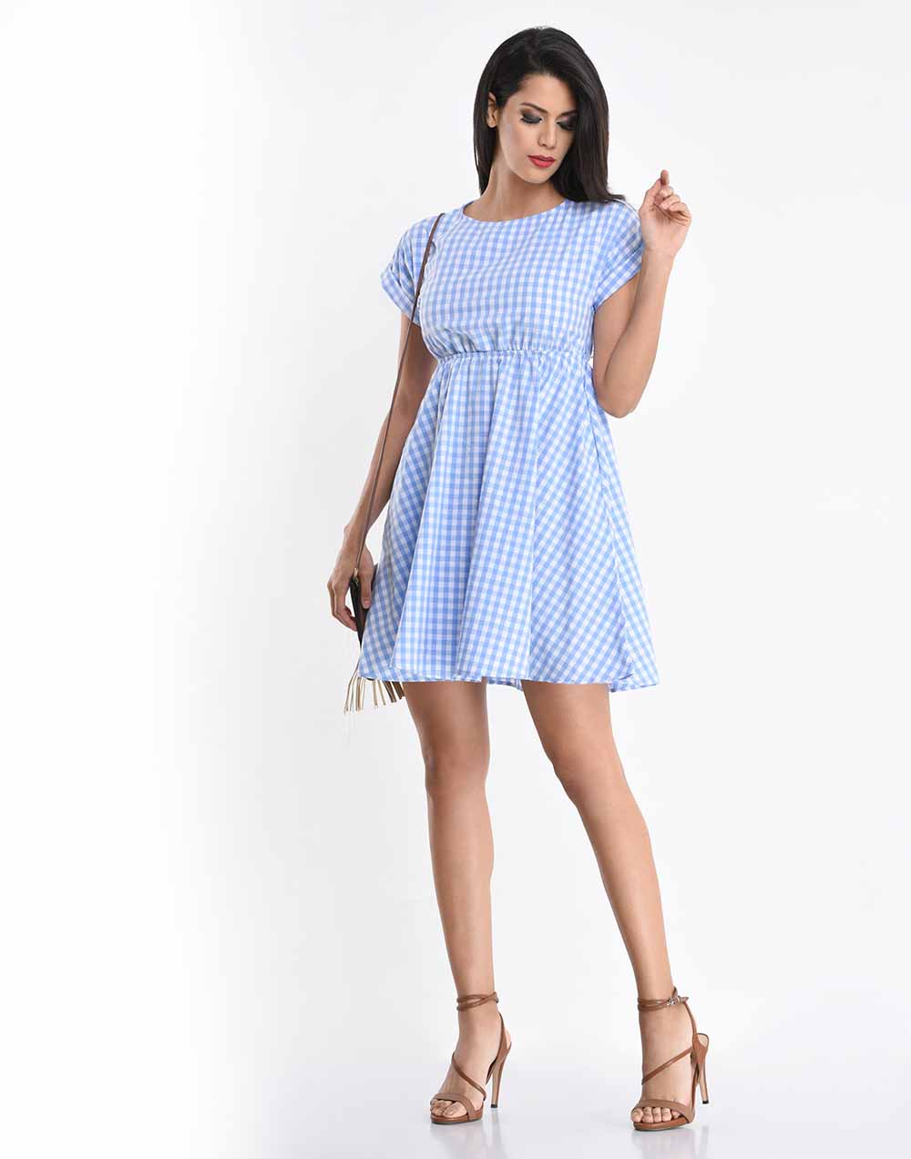 Check Roll Up Sleeve Dress