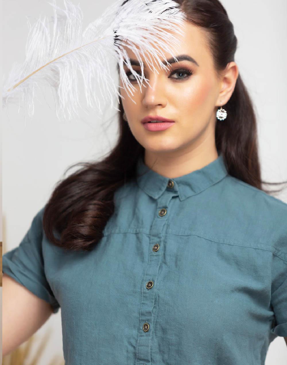 Drop Shoulder Short Sleeve Linen Top