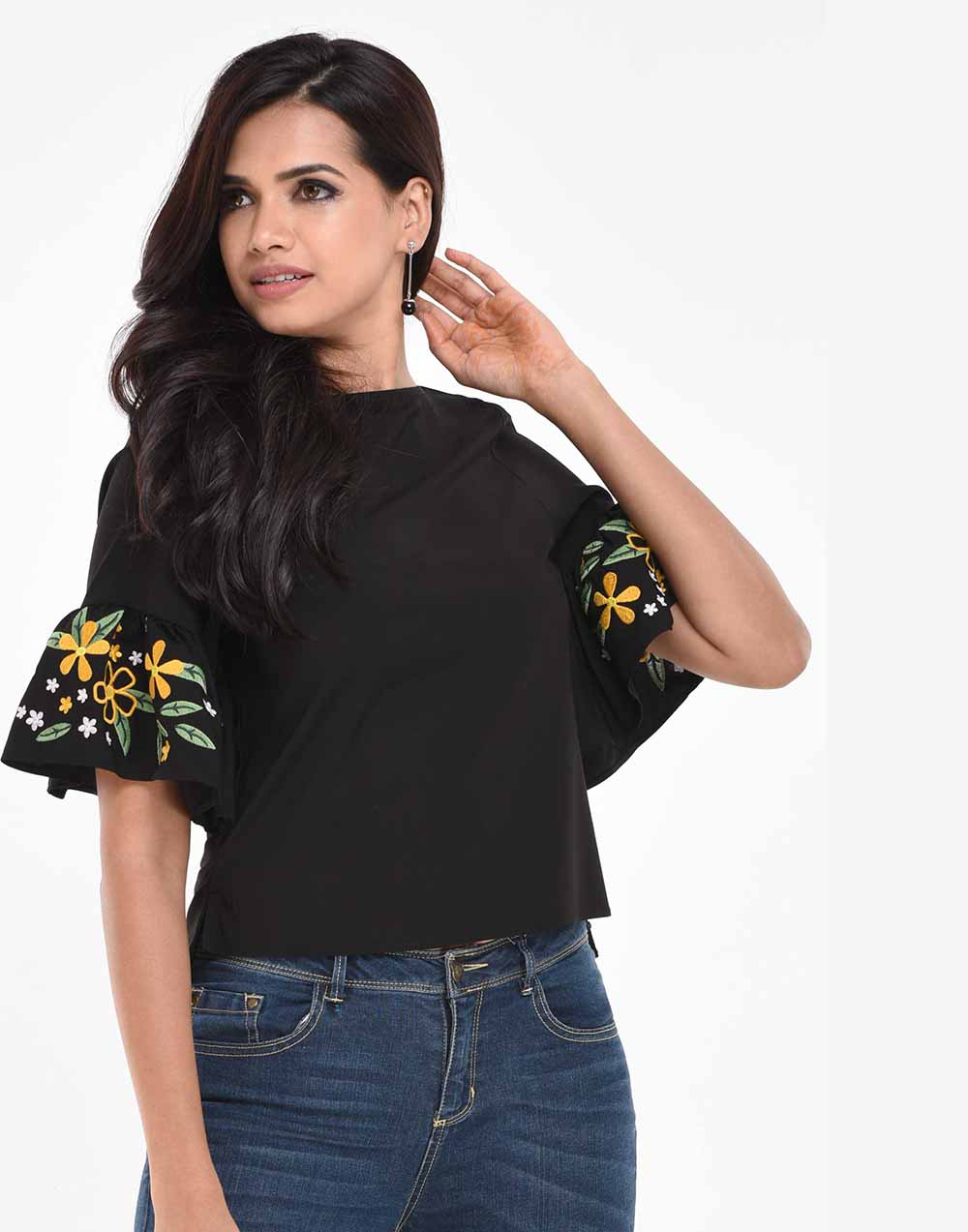 Embroidery Frill Fashion Top