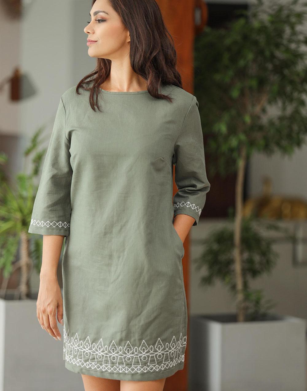 Boarder Embroidery Linen Dress