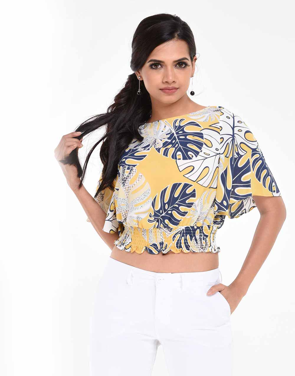 Flared Sleeve Crop Fashion Top