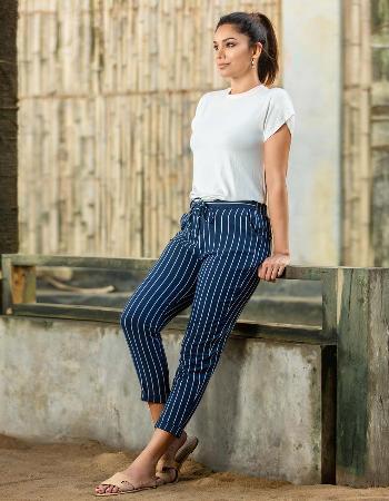 Striped Waist Linen Pant