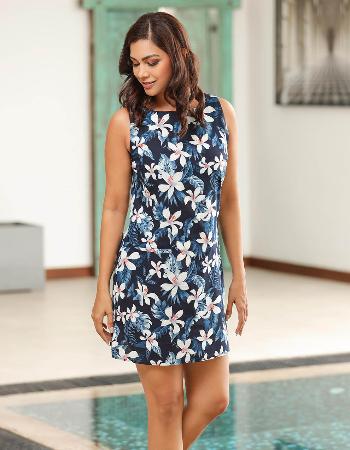 Tropical Printed Linen Dress
