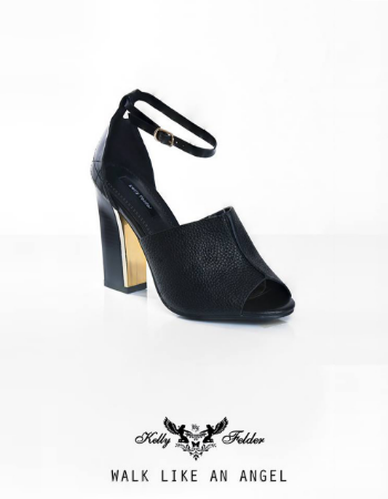 """ Evangeline "" Peep-Toe Mule With Inward-Gold Block Heel"