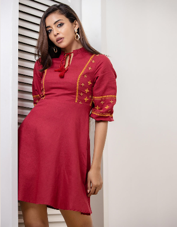 Front Tussel Detail Embroidery Linen Dress