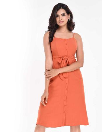Strappy Solid Curve Pocket Midi Dress