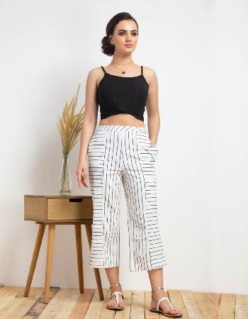 Stripe Wide Leg Linen Pant
