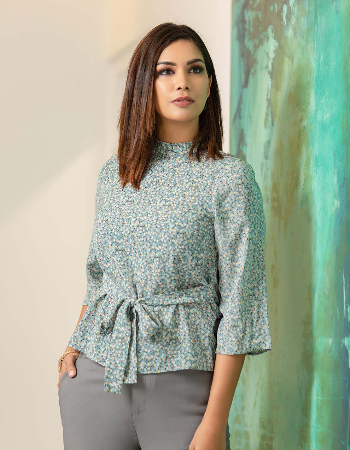 Front Tie Printed WW Top