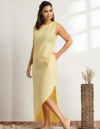 Asymmetrical Linen Maxi Dress